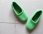 Crochet Slippers for Women in Green