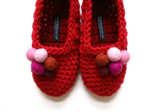 Red Crochet Slippers, House Shoes with Handmade Felt Embellishments for Women, One Of A Kind