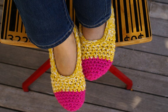 Women's Crocheted Slippers, House Shoes in Hot Pink & Yellow