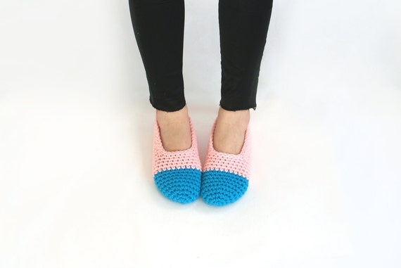 SALE 20% OFF - Crochet Slippers in Baby Pink and Azure