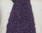 SALE - LAST SEASON Stock - Hand Knit Scarf - Elegant Purple Mohair Blend Scarf with Silver Sequins