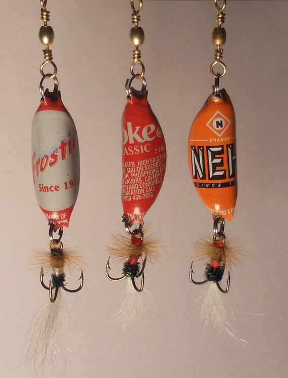 bottle cap fishing lures by aroundthefarm on etsy