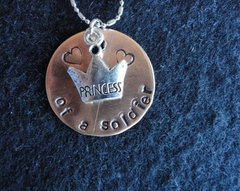 Handstamaped Princess of a Soldier in Navy,Army, Marines