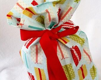 Fabric Gift  Bag Medium - Presents on Light Blue (unlined)