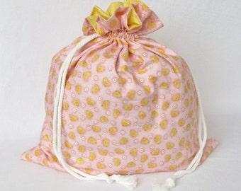 Drawstring Gift Bag Large - Pink Spring Parade Chicks by Makower