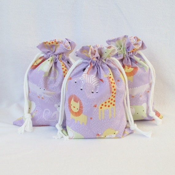 Small ORGANIC Fabric Drawstring Gift Bag - Sweet Safari by Alyssa Thomas of Penguin and Fish for Clothwoks