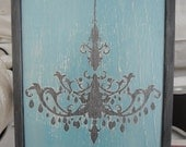 Hand Painted Distressed Chandelier Silhouette