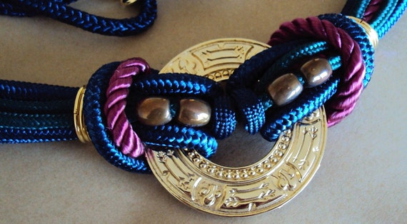 Womens vintage belt southwestern beaded braided cord belt L/XL Large vintage belt