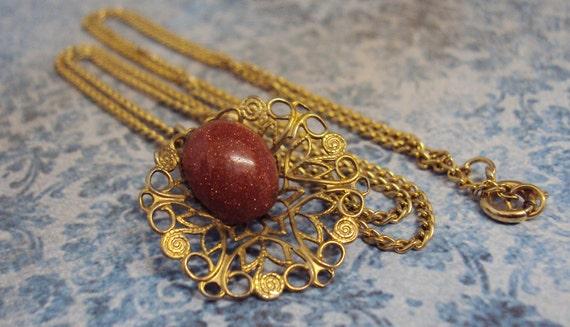 Romantic Vintage necklace sparkling gemstone necklace gold filigree pendant vintage jewelry