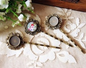 20 Unites  55mm Antiqued Bronze Color Plated Hair Clips  with 12mm Cameo Settings Plus 20 pcs 12mm transparent glass cameos