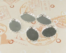 30pcs Silver Color Plated Lace Edge  Metal Cameo Base  with 13x18mm Pad Cameo Setting