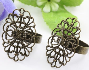 8PCS  Antiqued Bronze Color Metal Adjustable Ring Base  with 25x33mm Oval Pad
