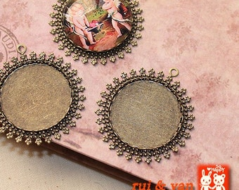 15pcs  Antiqued  Bronze Color Metal Pendant Base Finding with 25mm Round Pad Cameo Setting 1352a