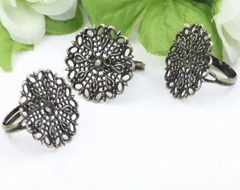 8pcs  Antiqued Bronze Color Metal Adjustable Ring Base  with 25mm Round Pad Cameo Setting