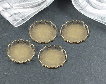 40pcs Antiqued Bronze  Color Lace Edge Metal Cameo Base  with 12mm Pad Cameo Setting