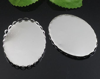50pcs  Silver  Color Oval Lace Edge Metal Pendant Base Finding with 40x30mm Pad Cameo Setting