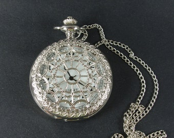 2pcs 47mm  Silver Color  Plated Pocket Watch Charm Pendant