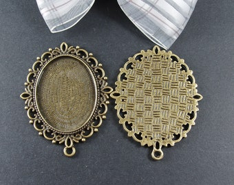 8 pcs  Antiqued Bronze Color Metal Pendant Base Finding with 40x30mm Pad Cameo Setting