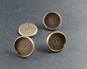 50pcs(25 pairs) Antiqued Bronze Color Earring Posts With 12mm Pad