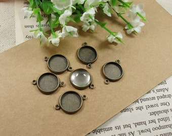 20pcs  Antiqued Bronze Color Metal Cameo connectors with 12mm round edge 2 Rings Cameo Setting