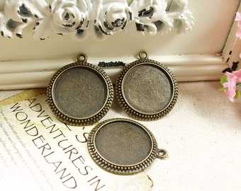 8pcs   Antiqued Bronze  Color Metal Pendant Base Finding with 30mm Pad Cameo Setting 23788