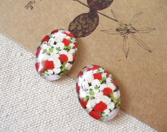 2pcs 18x25mm Glass Tranparent  Round Cabochon Cameo Covers Flower Series