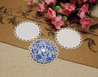10 pcs 25mm White Color Plated Metal  Round Lace Edge Flat Pad Cameo Pendant Cabochon Settings