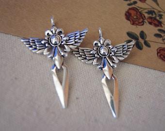 5pcs 50X35mm Antiqued Silver  Color Big Angel Wing Cross Charm Pendant 25179