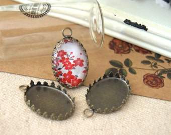 30pcs  Antiqued Bronze Color Metal Cameo Base  Pendant with 18x25mm Pad Cameo Setting