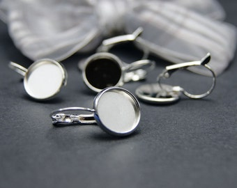 50pcs(25pairs)  Silver Color French Earrings Hooks with 12mm Cameo Settings