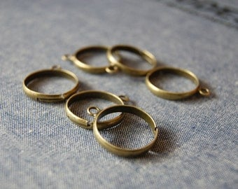 10pcs 19mm Antiqued Bronze Color  Adjustable One Loop Rings