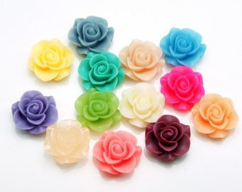 24 pcs 21mm Resin Flower Cabochon Cameo Covers Mixed Colors