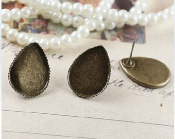 20pcs(10 pairs) Antiqued Bronze Color Earrings Posts with 13x18mm Teardrop Shape Pad
