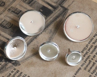 50pcs(25 pairs) Silver Color Earring Posts With 12mm Pad