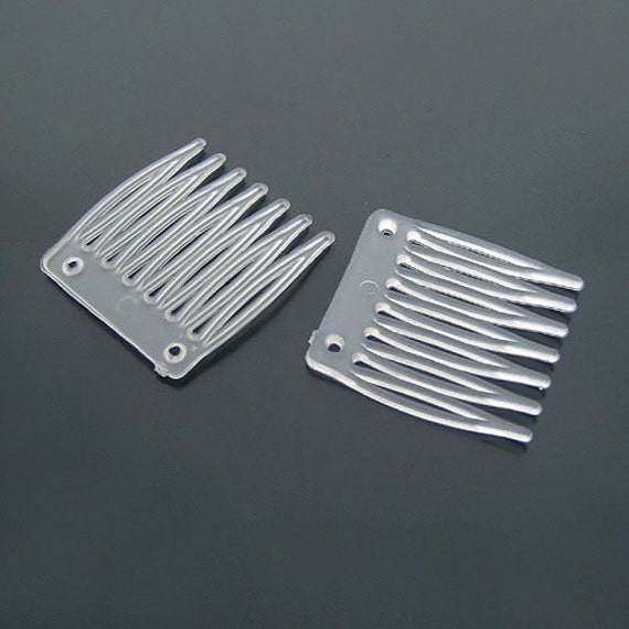 20pcs 30x35mm Clear Plastic Hair Comb  15609