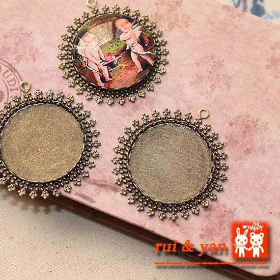 8pcs  Antiqued  Bronze Color Metal Pendant Base Finding with 25mm Round Pad Cameo Setting 1352a