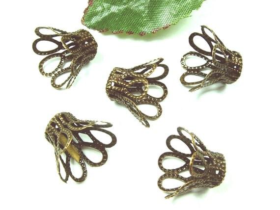 40pcs 12x15mm Antiqued Bronze Color Filigree Bead Caps-Connector