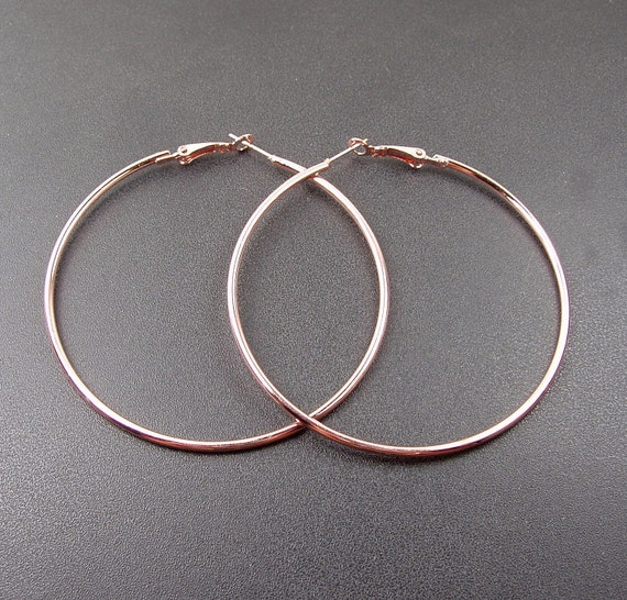 40pcs(20pairs) 60x1.8mm Rose Gold  Color Beading  Earrings Hoops