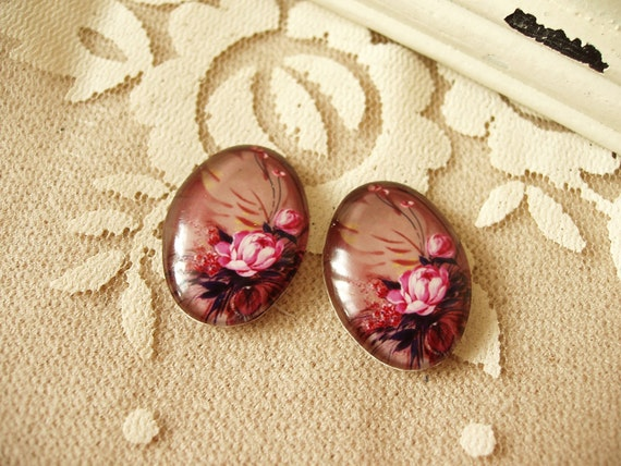 2pcs 18x25mm Glass Tranparent   Cabochon Cameo Covers Flower Series