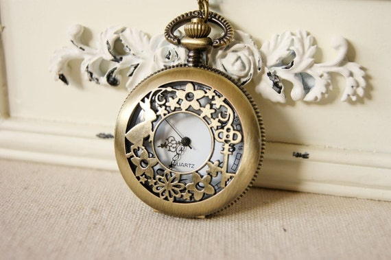 2pcs 47mmx47mm  Antiqued Bronze Color  Pocket Watch Charm Pendant
