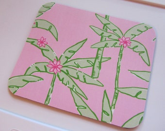 Fabric Mouse Pad Lazy Palms made with Lilly Pulitzer Fabric
