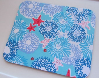 Fabric Mouse Pad Star Sighting made with Lilly Pulitzer Fabric