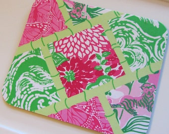 Mouse pad made with Lilly Pulitzer Fabric Multi Bam Patch