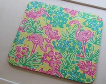 Fabric Mouse Pad made with Lilly Pulitzer Fabric Snowbird