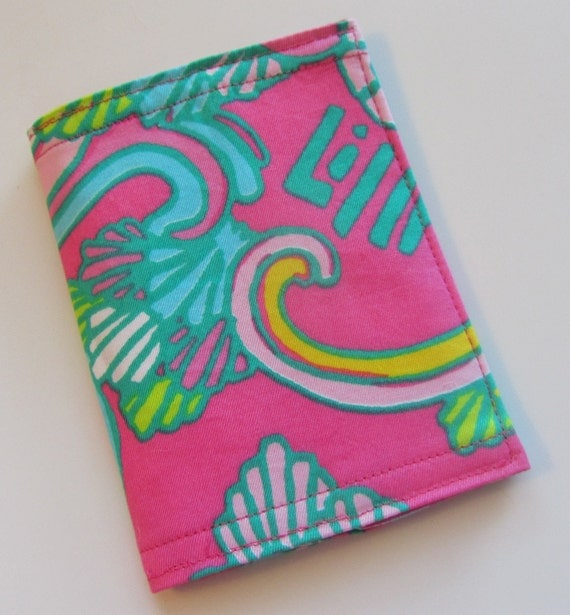Passport Cover  made with Lilly Pulitzer Fabric Hotty Pink Shell We Dance