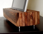 iPad Cradle, Sync, w/ Wall Charger - Handcrafted from Brazilian Hardwood