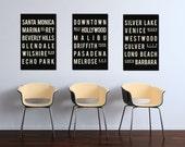 Los Angeles, CA, Subway Sign, California Art, Living Room Decor, New Home Gift, Housewarming Gift