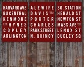 BOSTON - Subway Art - Typography Poster - Red and White - Home Decor - Modern Sign - Wall Art - Set of 3