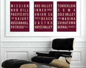SAN FRANCISCO - Subway Sign Poster - Typography Print - Purple and White - Quote Art -  Modern Home Decor  Gift - Set of 3