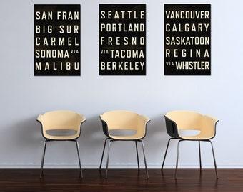 West Coast Subway Art Print, California Art, Canada Art, Modern Art, Typography Poster, Home Decor, Set of 3